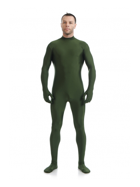 Army Green Back Zipper Spandex Zentai Suits