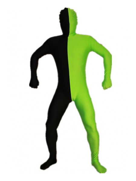 Black and Green Tight Spandex Zentai Suits