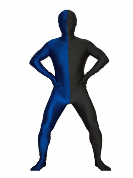 Black and Royal Blue Tight Spandex Zentai Suits