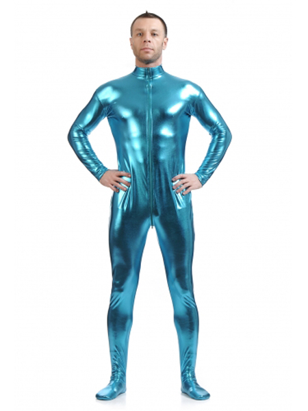 Blue Fornt Zipper Zentai Shiny Metallic Tight Zentai Suit