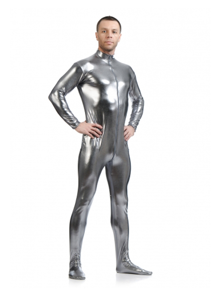 Dark Silver Fornt Zipper Zentai Shiny Metallic Tight Zentai Suit