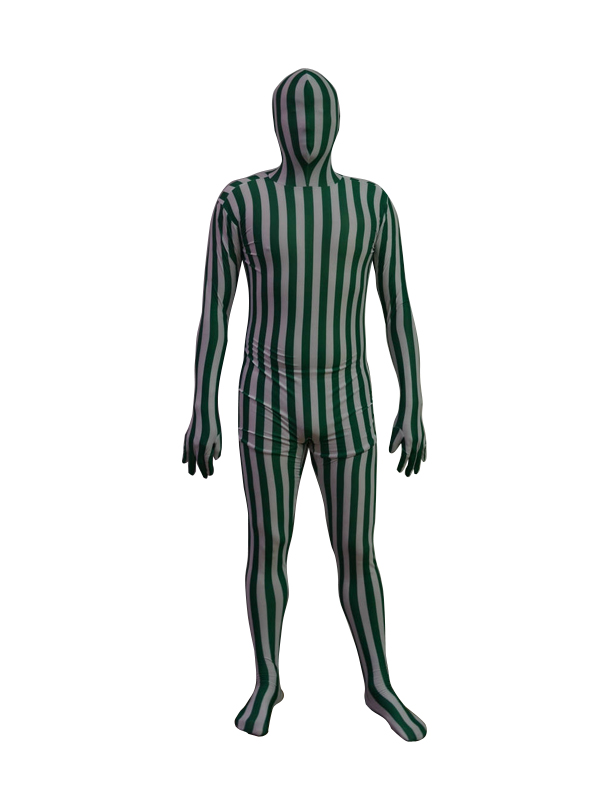 Green and White Stripes Lycra Spandex Zentai Suit