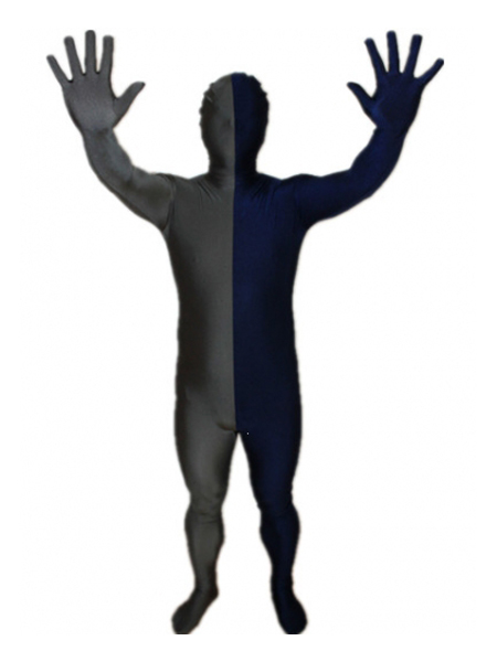 Navy Blue and Gray Tight Lycra Spandex Zentai Suits