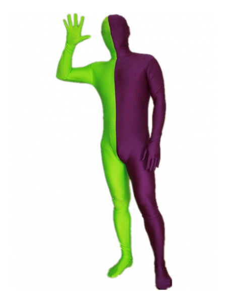 Purple and Lime Green Tight Lycra Spandex Zentai Suits