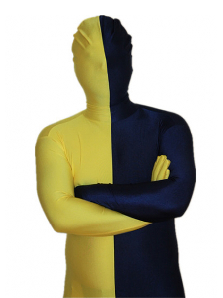 Yellow and Navy Blue Tight Lycra Spandex Zentai Suits