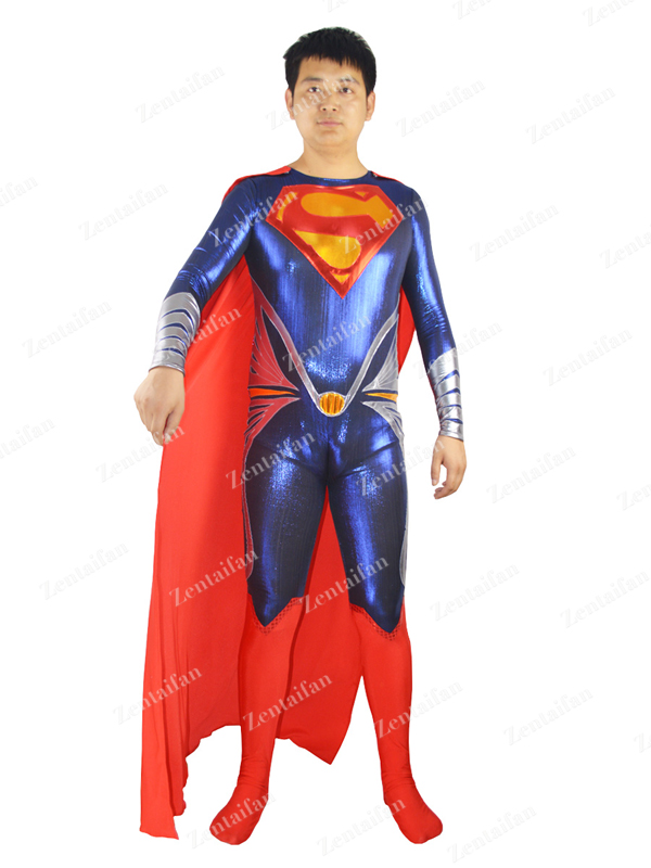 2013 Man of Steel Superman Costume zentai suit style A