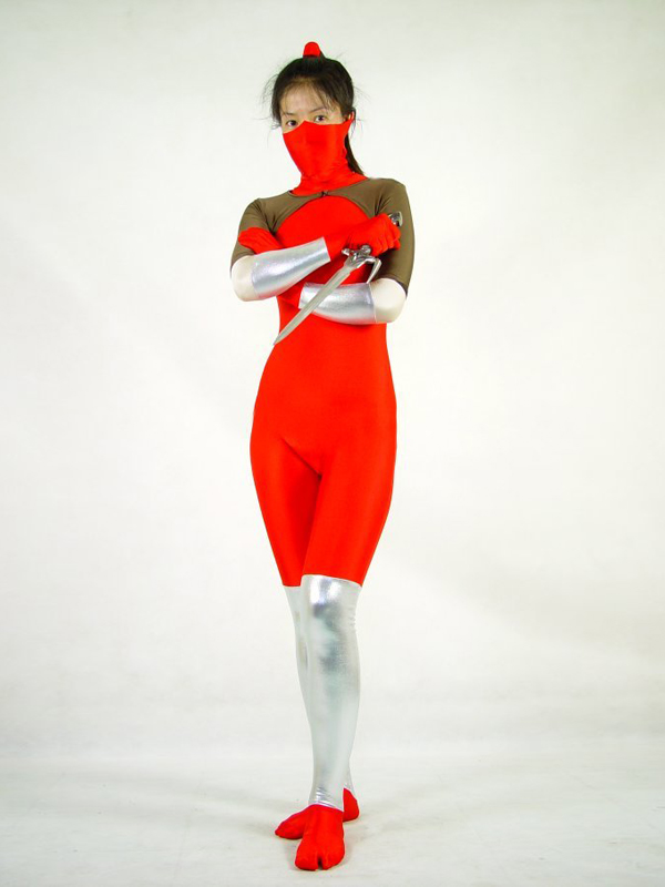 2014 Female Red Spandex Ninja Superhero Costume