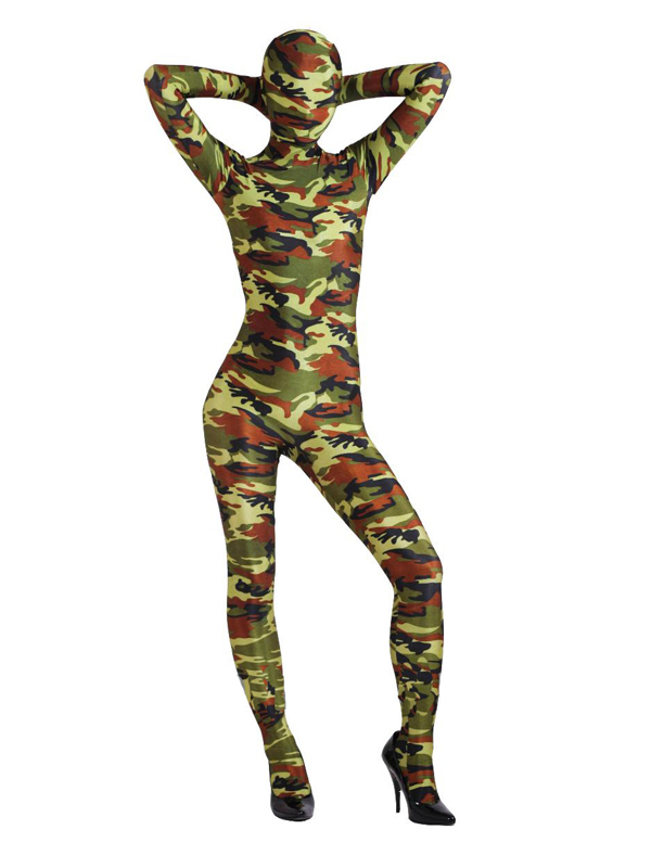 Army Camouflage Lycra Spandex Full body Zentai Suit