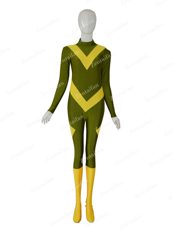 Army Green & Yellow Female Custom Spandex Superhero Suit