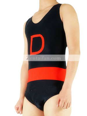 Black And Red Sleeveless Unisex Zentai Suit
