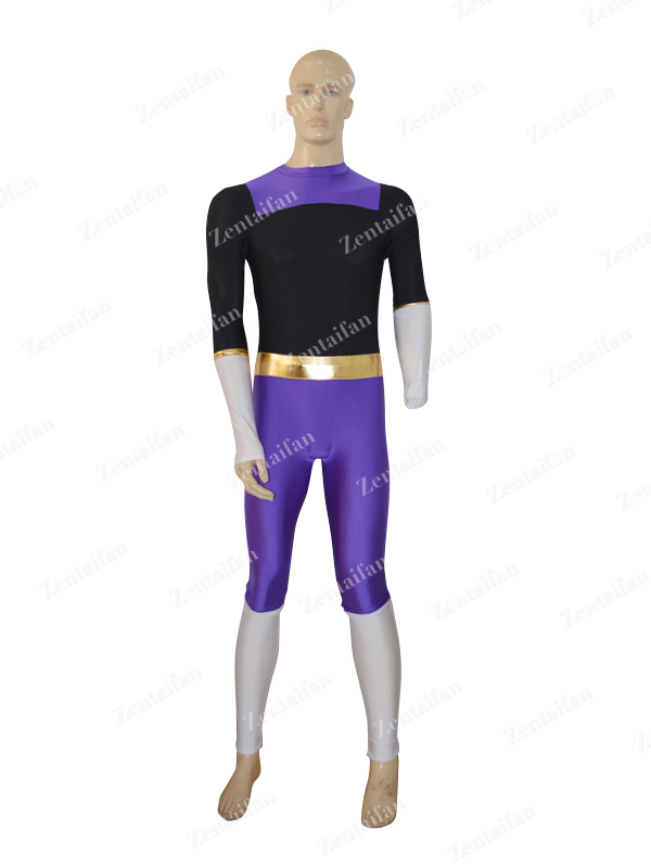 Black & Deep Purple Custom Spandex Zentai Suit