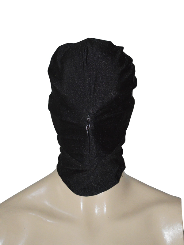 Black Lycra Spandex Hood With Front Zipper