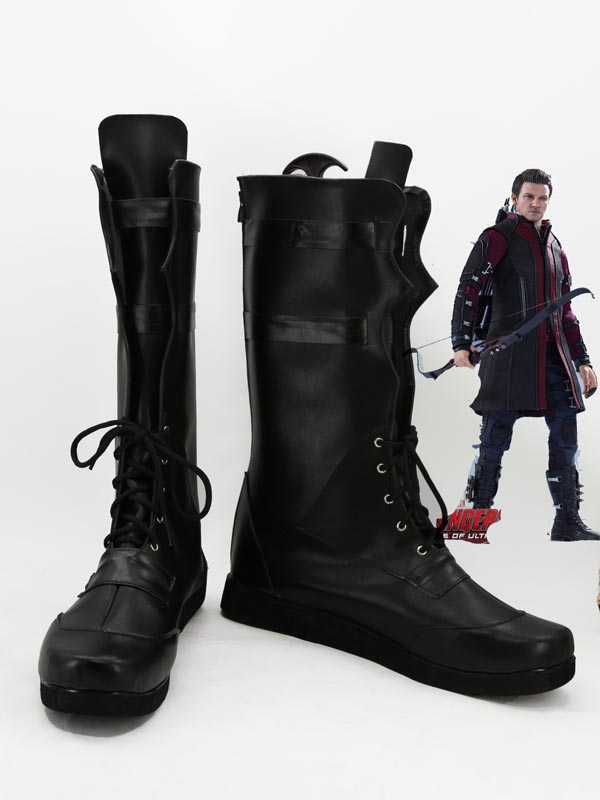 Black Marvel Comics The Avengers Hawkeye Superhero Cosplay Boots