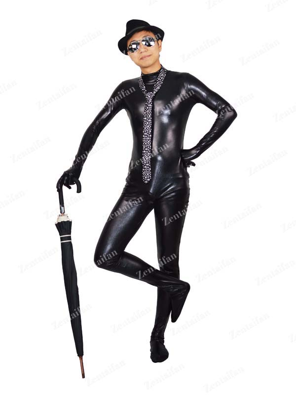 Black Metallic Zentai Suit No Head