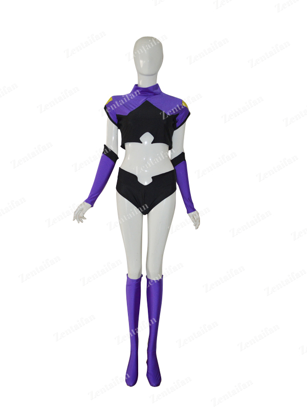 Black & Purple Custom Two-piece Female Superhero Costume