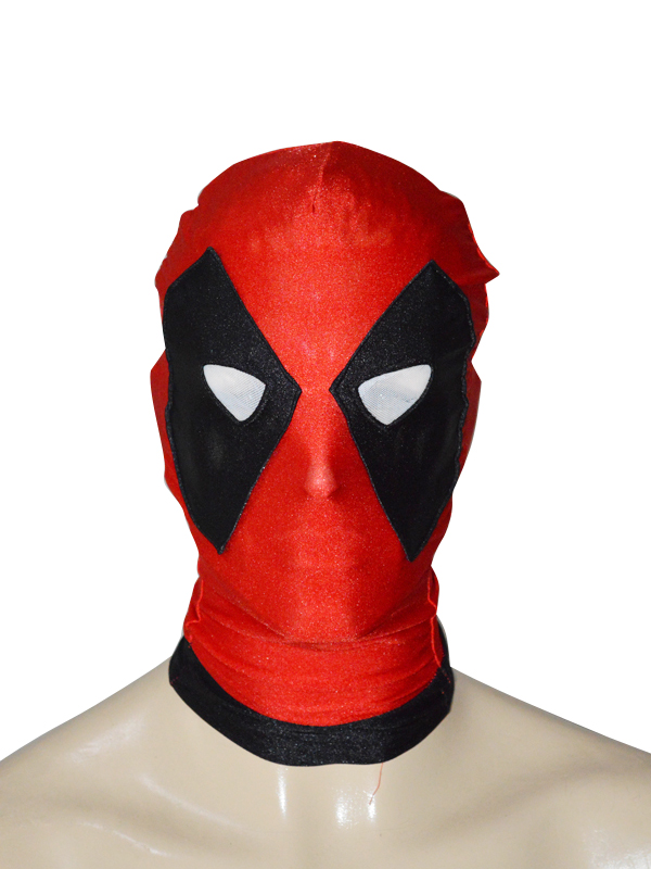 Black & Red Deadpool Spandex Hood With Triangle Eyes
