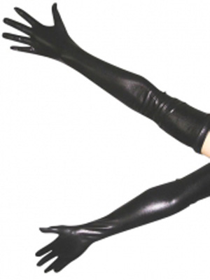 Black Shiny Metallic Gloves