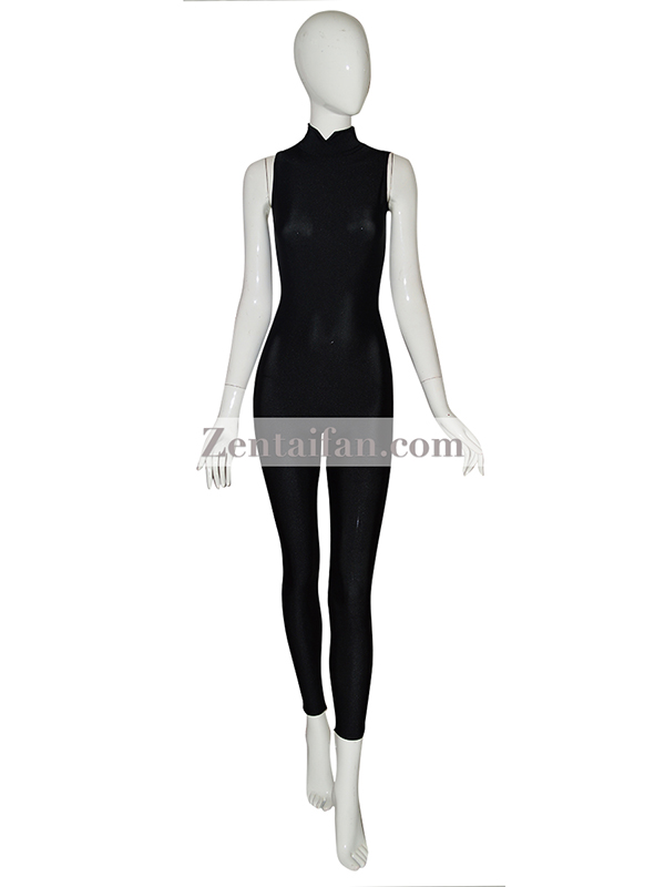 Black Sleeveless Spandex Zentai Suit