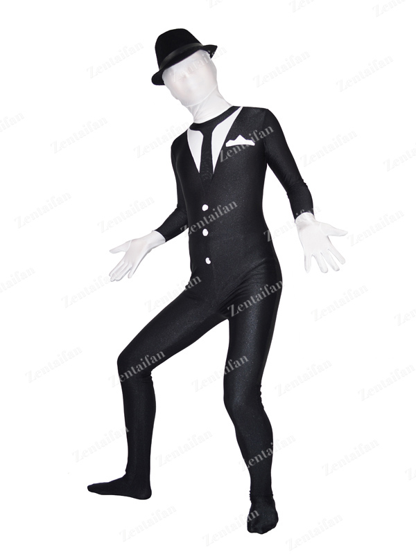 Black & White Business Suit Design Spandex Costume
