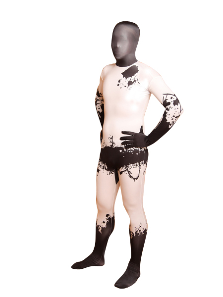 Black & White Splash-ink Abstract Painting Fullbody Zentai