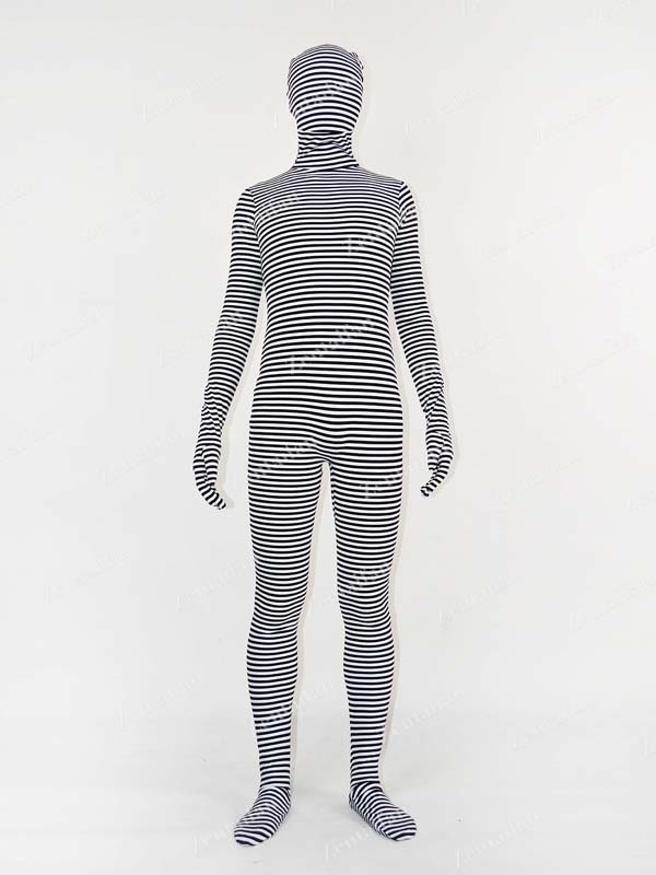 Black & White Stripes / Mummy Fullbody Zentai Suit