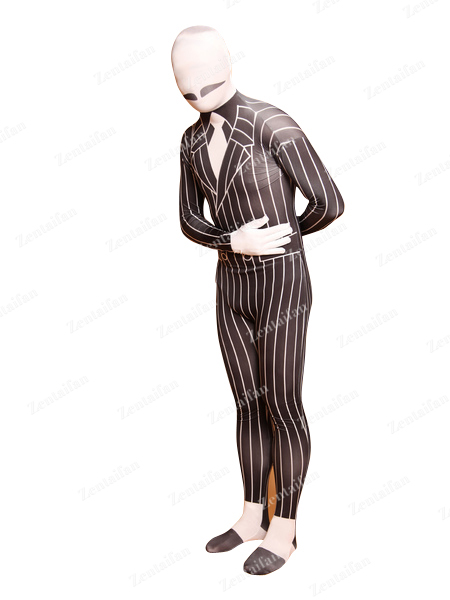 Black & White Strips Business Suit Styling Zentai Suit