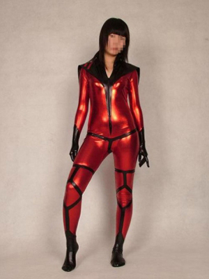 Black and Red Shiny Metallic Lapel Zentai Catsuit