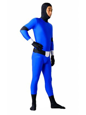 Blue And Black Lycra Spandex Fullboday Open Face Unisex Zentai Suit