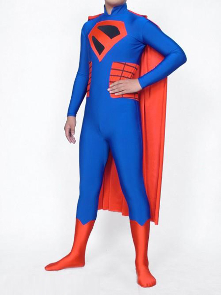 Blue And Red Superman Lycra Spandex Superman Costume With Cape