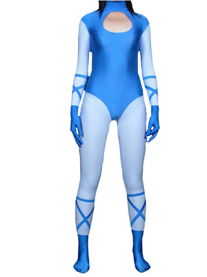 Blue Female Superhero Spandex Zentai Suit