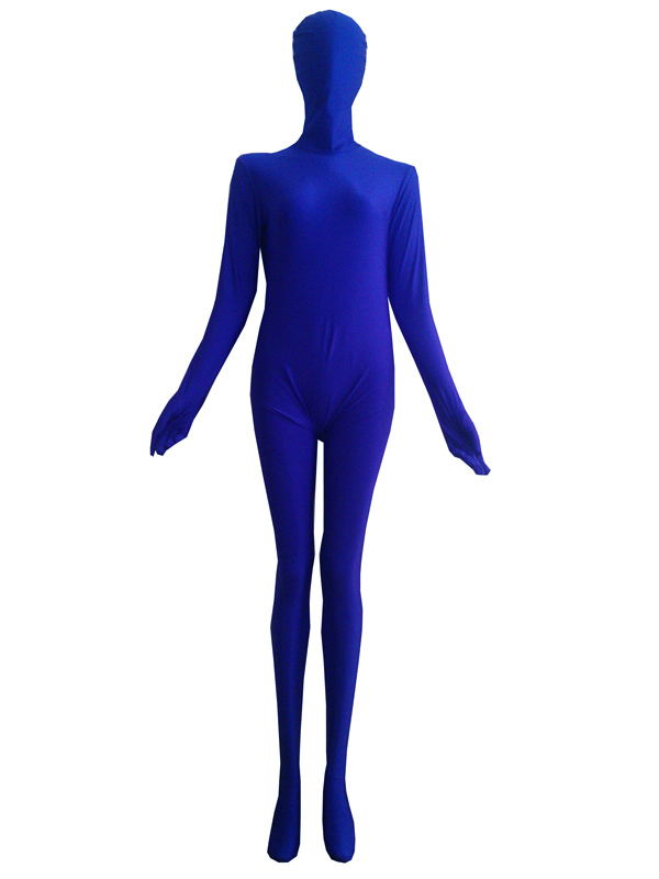 Blue Lycra Spandex zentai Catsuit With Trousers