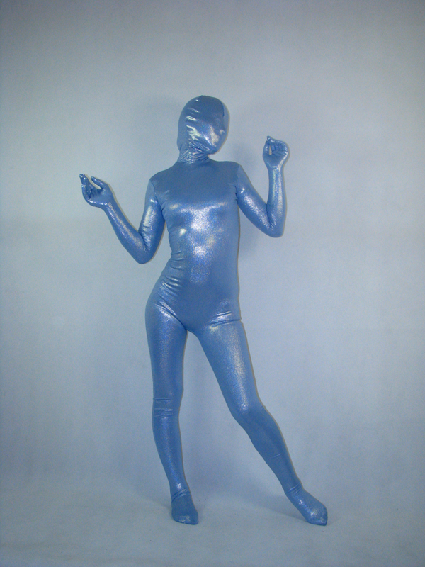Blue Metallic Unisex Full Body Zentai Suit