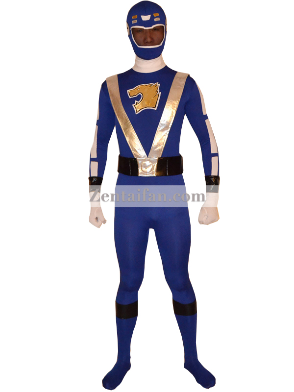 Blue Sentai Go-Onger Power Rangers Superhero Costume