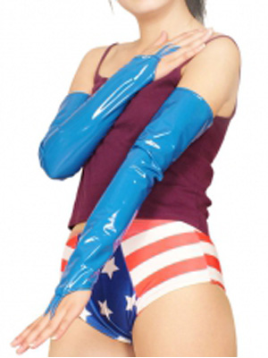 Blue Sexy PVC Ring Gloves