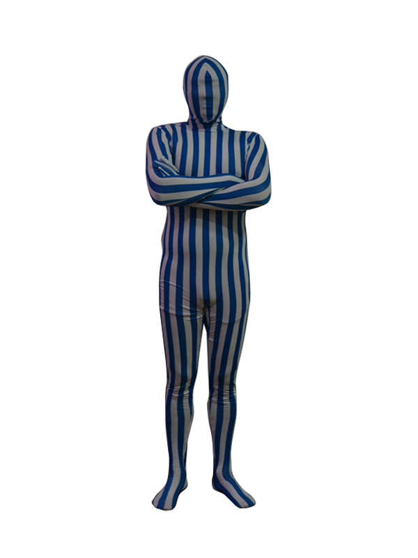 Blue and White Stripes Lycra Spandex Zentai Suit