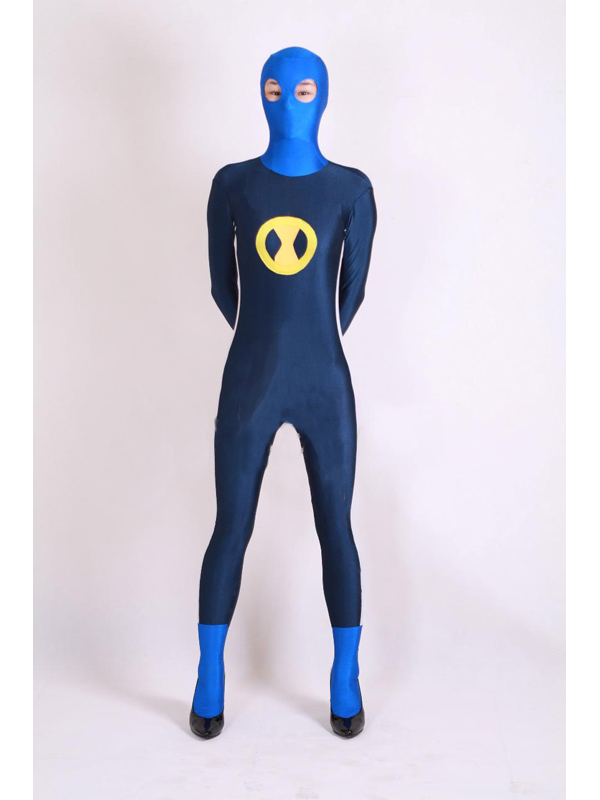 Blue and Yellow Spandex Lycra Superhero Costume