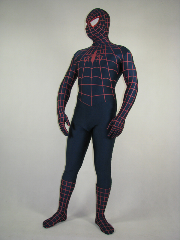 Blue and red spandex spiderman costume with red spider