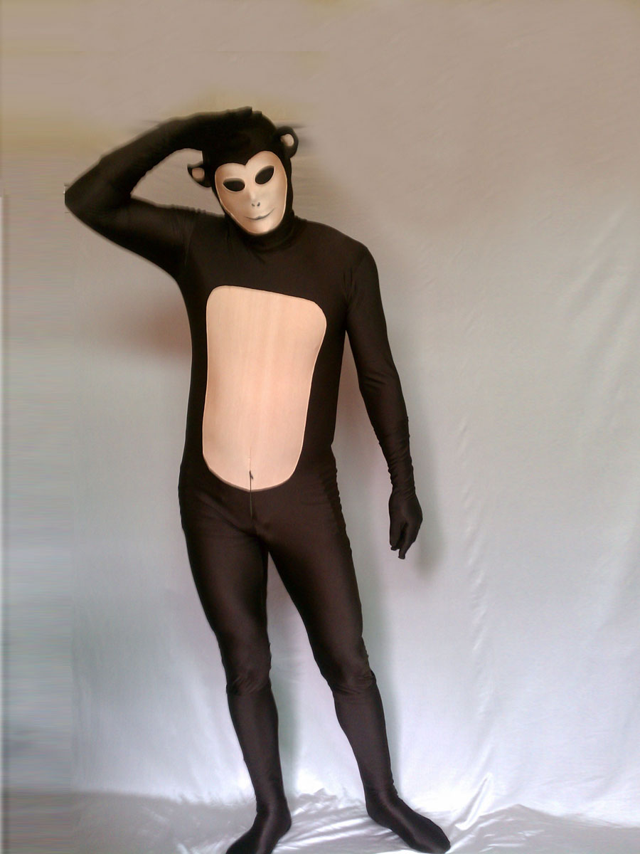 Brown & Flesh Monkey Lycra Spandex Fullbody Zentai Suit