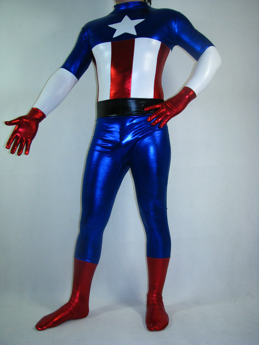 Captain America Shiny Metallic Spandex Zentai Suit