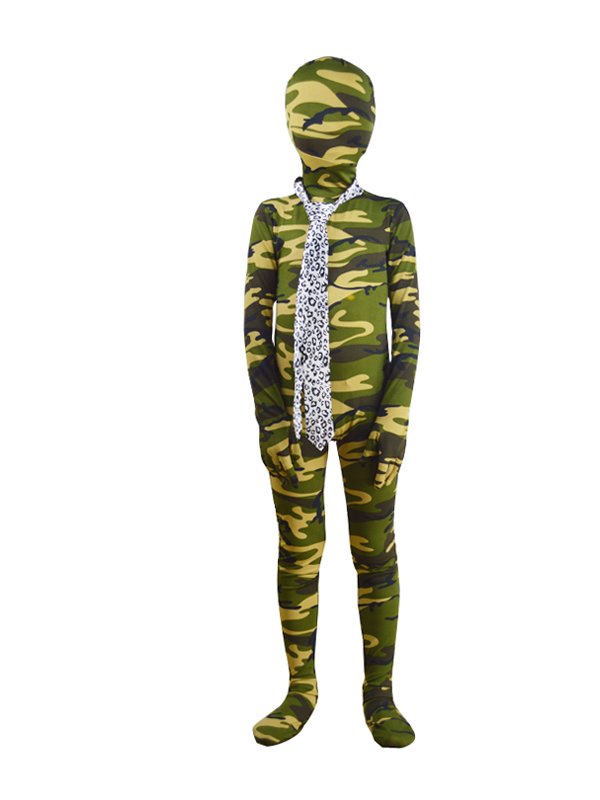 Children Army Green Camouflage Zentai Fullbody Suit