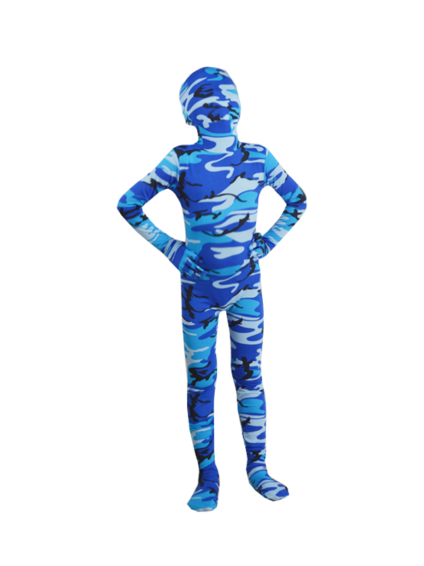 Children Blue Camouflage Zentai Fullbody Suit