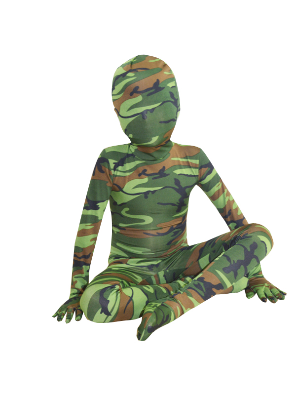 Children Green Camouflage Lycra Zentai Suit