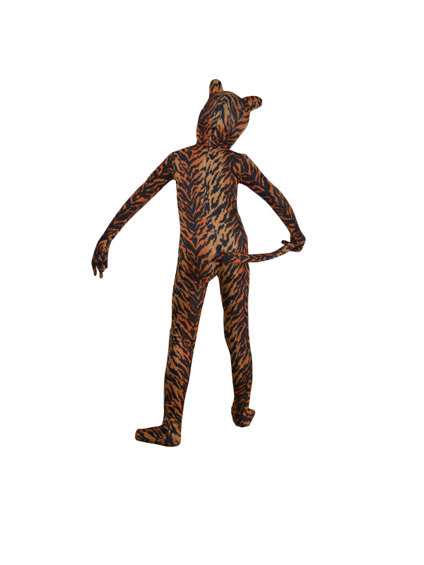 Children Tiger Stripes Spandex Zentai Fullbody Suit