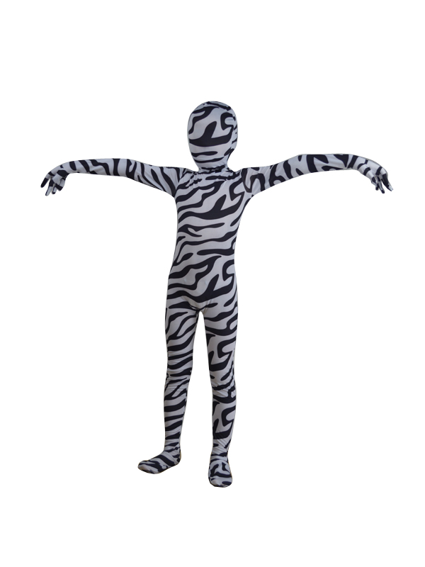 Children Zebra Multicolor Zentai Fullbody Suit
