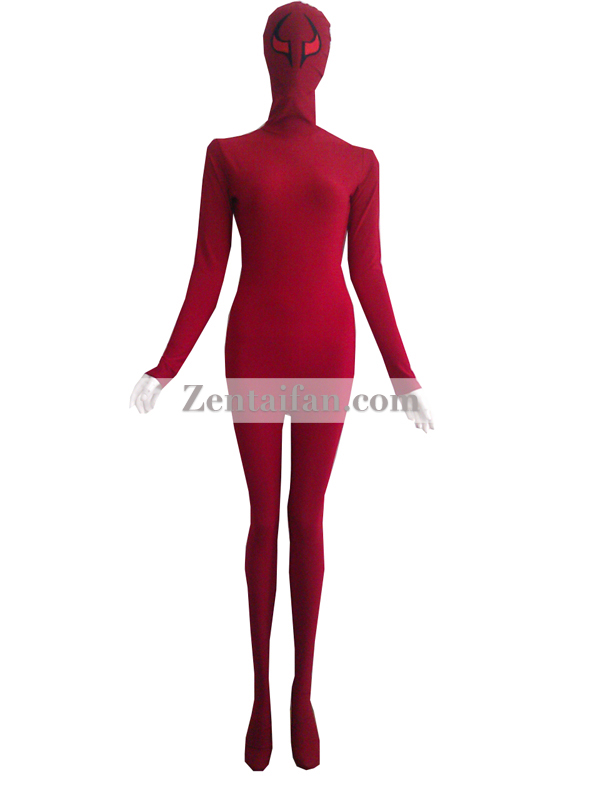 Crimson Spandex Zentai Suit With Eyes