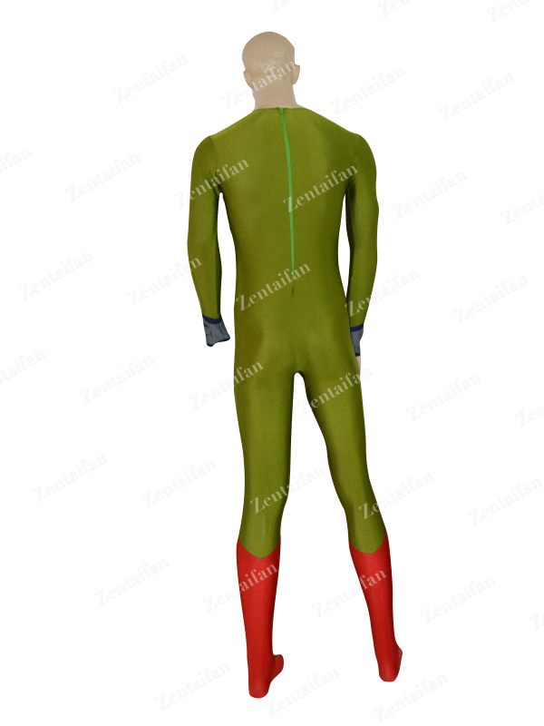 Custom Army Green & Red New Style Zentai Costume