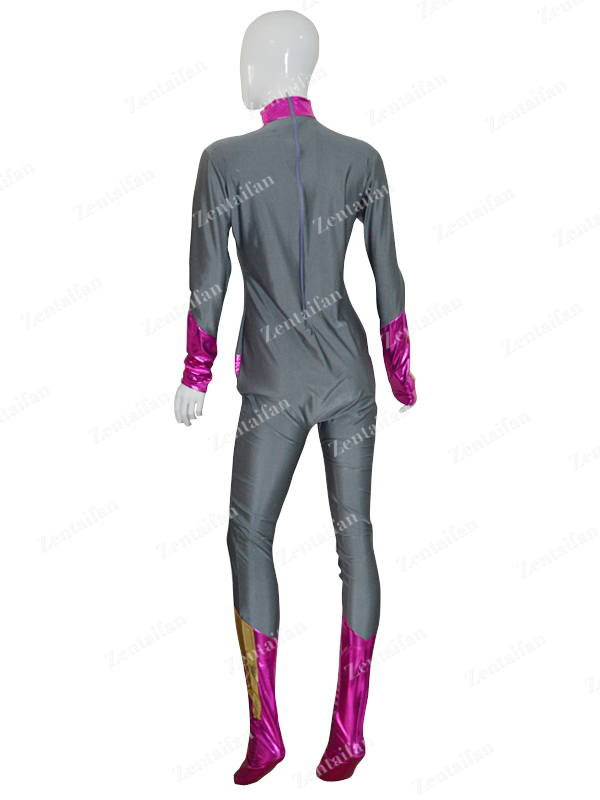 Custom Grey & Peach Color Female Superhero Costume