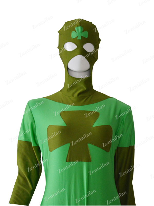 Custom Lucky Comics Green Spandex Superhero Costume