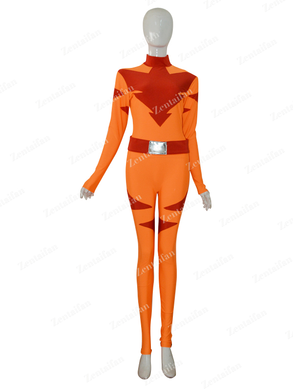 Custom Orange & Dark Red Female Superhero Costume - Click Image to Close