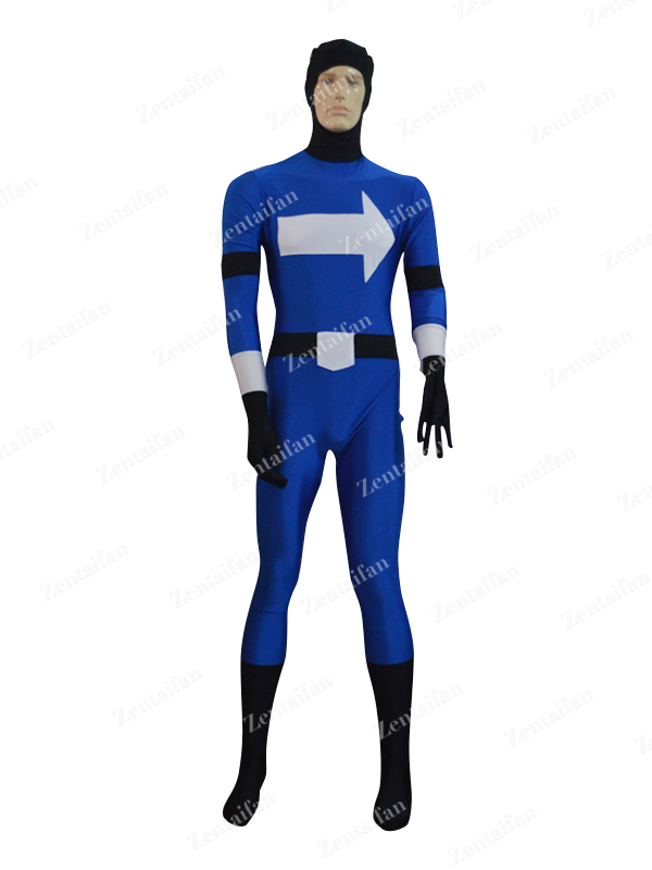 Deep Blue & White Arrows Spandex Zentai Costume with Open Face